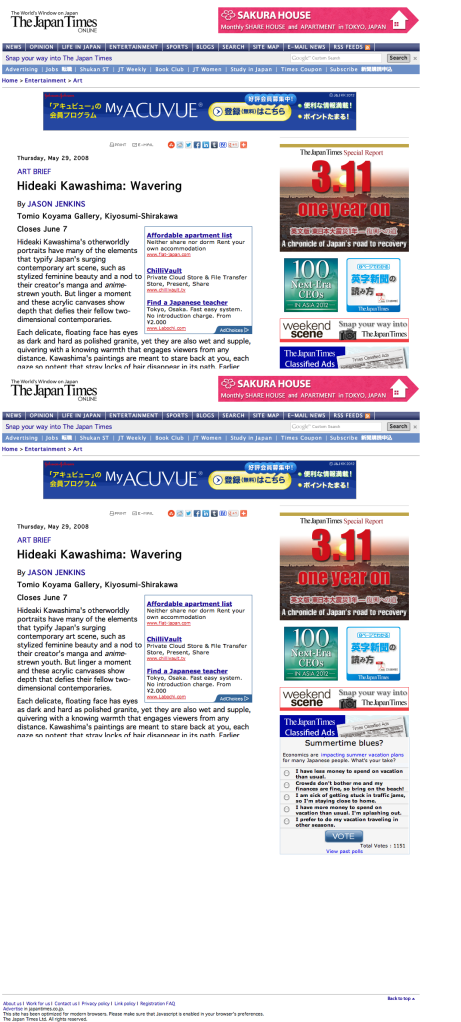 Hideaki Kawashima: Wavering | The Japan Times Online