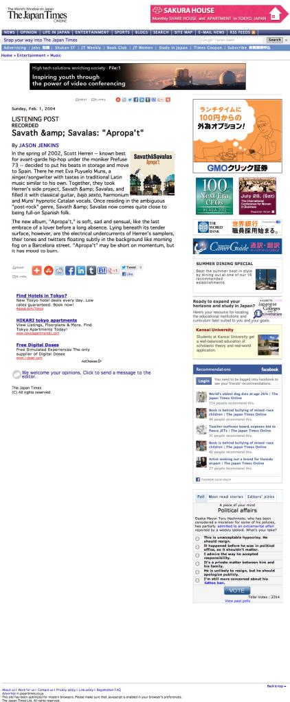 "Savath & Savalas: ""Apropa't"" | The Japan Times Online"