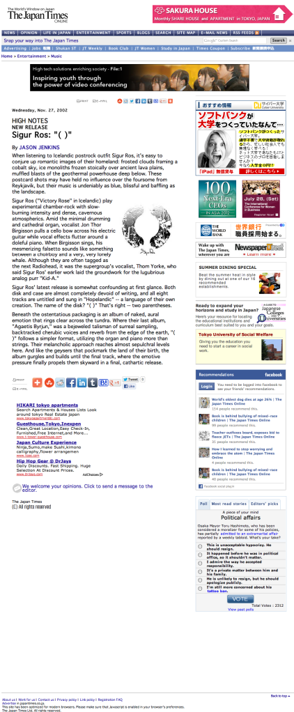 "Sigur Ros: ""( )"" | The Japan Times Online"